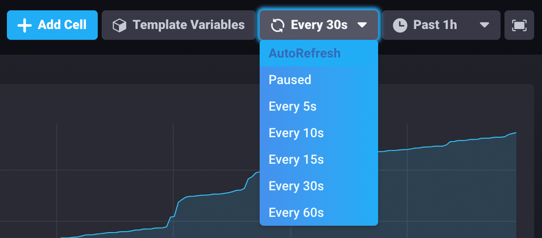 Dashboard interval selector
